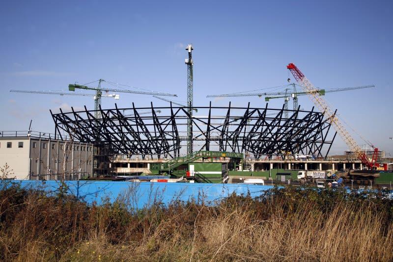 London Olympic Stadium under construction royalty free stock image