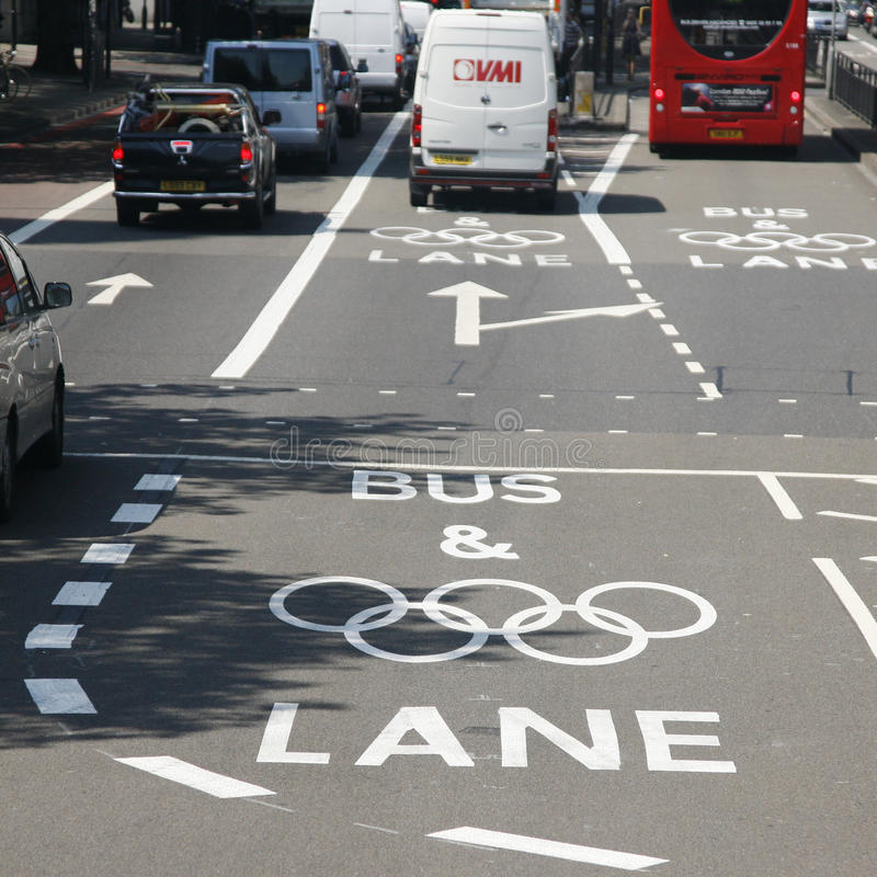 Download London Olympic Traffic Restriction Lane Editorial Photo - Image: 26132046