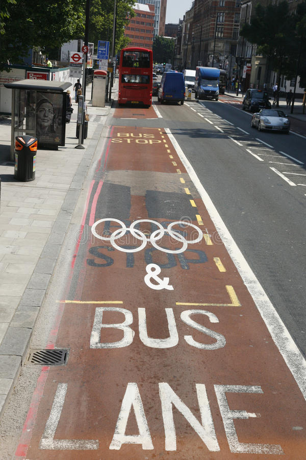 Download London Olympic Traffic Restriction Lane Editorial Photo - Image: 26132106