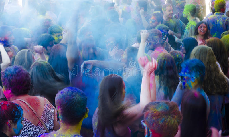 London Ontario, Canada - April 16: Motion effect for unidentifi. Ed young colorful people having fun at the Festival of Colours on April 16.2016 in London stock photo