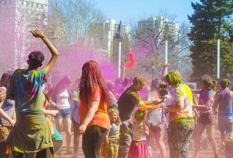 London Ontario, Canada - April 16: Unidentified young colorful p. Eople having fun and celebrating at the Festival of Colours on April 16.2016 in London Ontario royalty free stock images