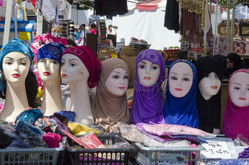 London Ontario, Canada - July 10, 2016: Muslim veil for women se. Ll at the stall in the park Victoria Park during the country Festival as editorial royalty free stock images