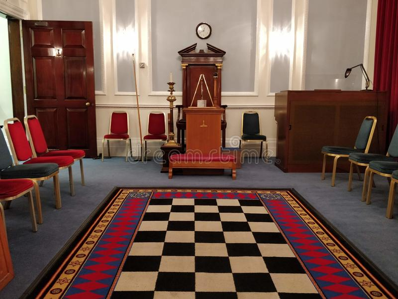 Mark Mason`s Hall. London, Open House 2018 - Grand Lodge of Mark Master Mason: the ground floor of the building is divided in three large rooms. Two are Masonic stock image