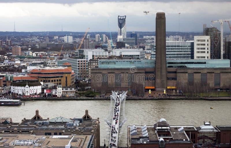 London panorama med moderna Tate arkivfoto