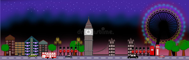 London panoramic. London theme night scene icon concept illustration stock illustration