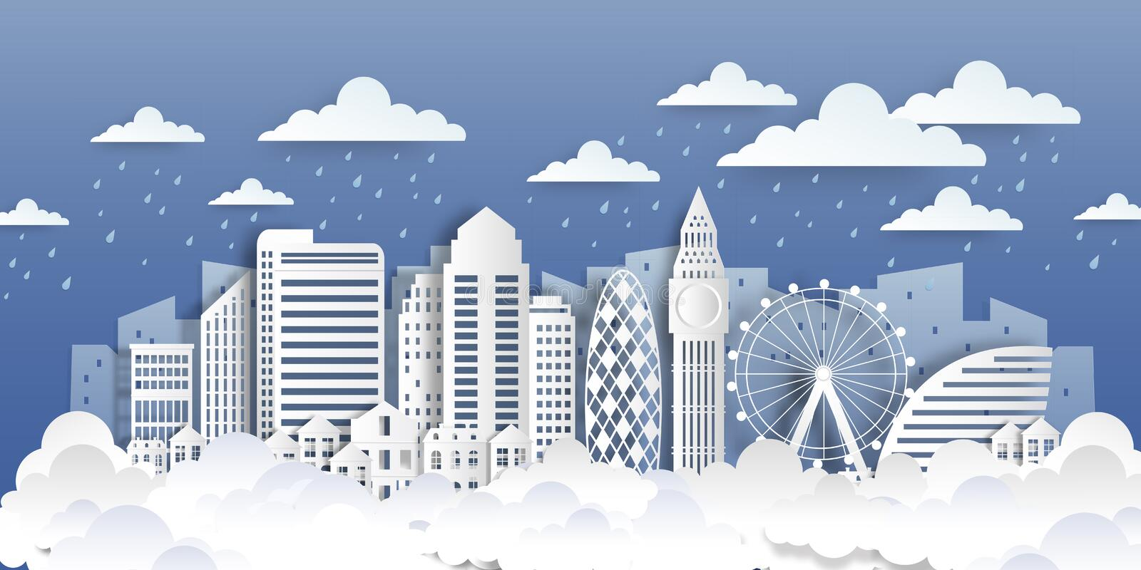 London paper landmarks. Paper cut city landscape with white flat buildings and clouds. Vector origami style cityscape royalty free illustration