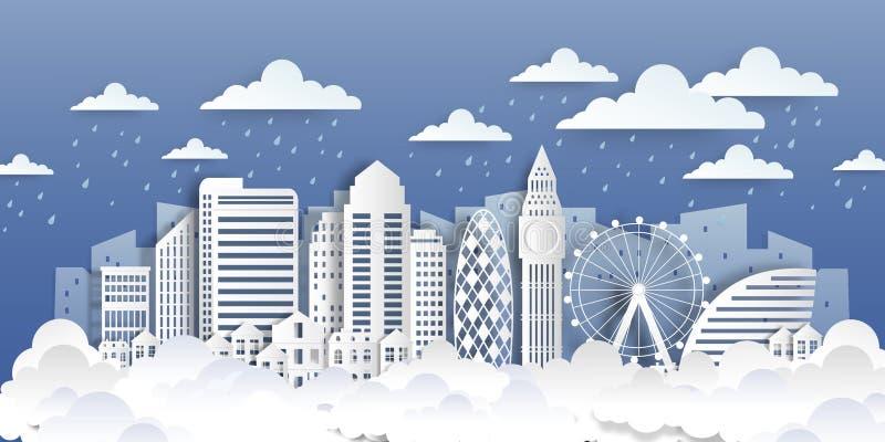 London-Papiermarksteine Geschnittene Stadtpapierlandschaft mit weißen flachen Gebäuden und Wolken Vektororigami redet Stadtbild lizenzfreie abbildung