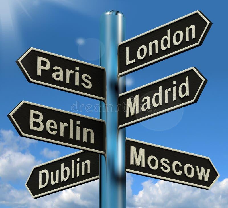 London Paris Madrid Berlin Signpost Showing Europe Travel Touris vektor illustrationer