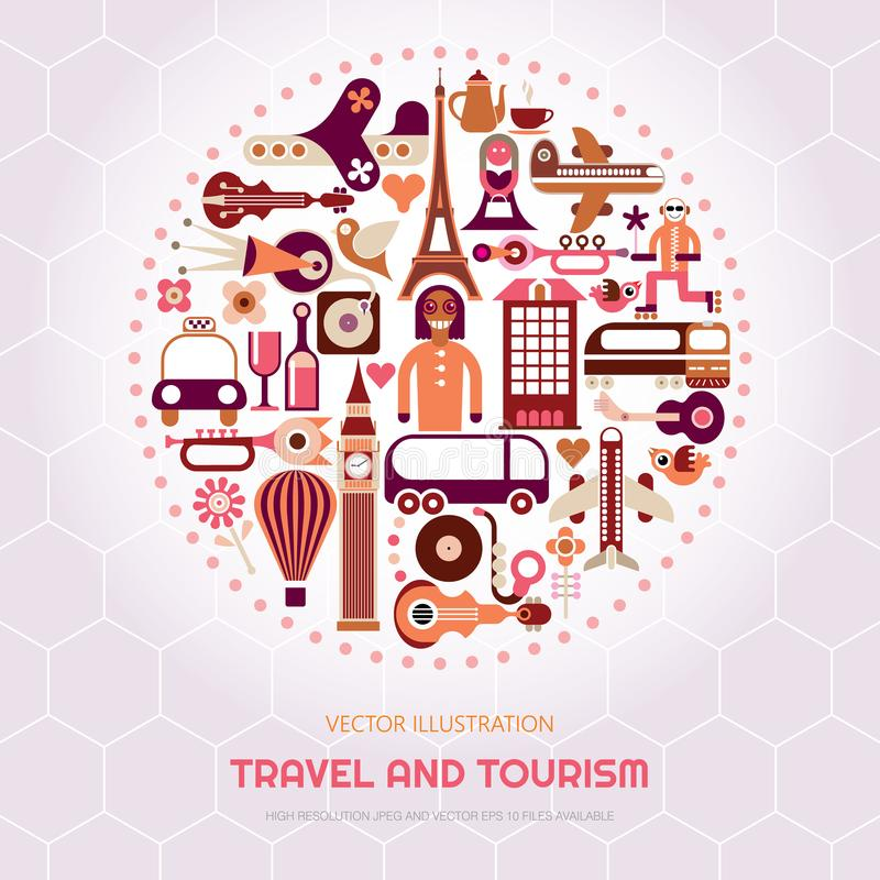 London and Paris Travel royalty free illustration