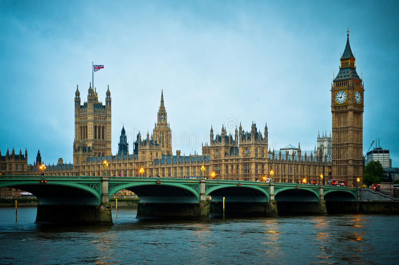 London Parliament and Big Ben. View over Houses of Parliament and Big Ben Tower, Westminster, London royalty free stock image