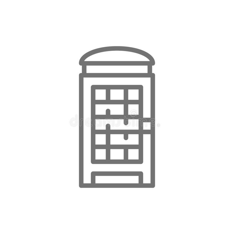 London phone booth, English call box line icon. stock illustration