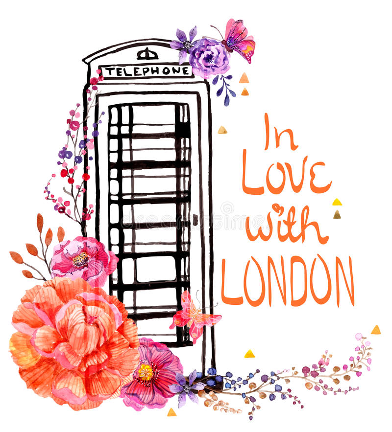 London phone booth with watercolor flowers. Colorful illustration for beautiful travel design royalty free illustration