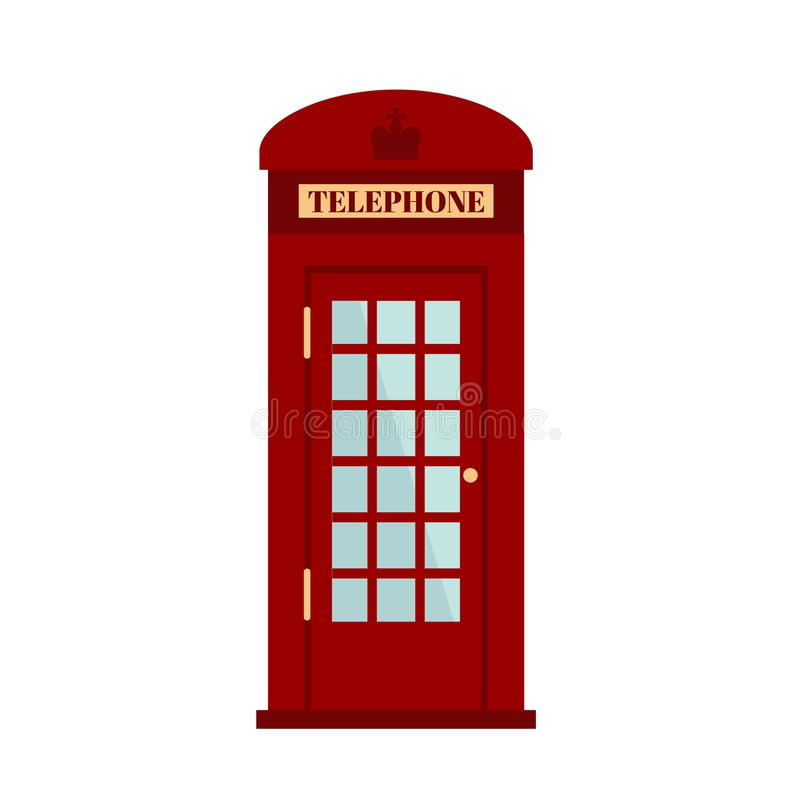 London phone box isolated on white background. Red phone box. Red phone booth icon in flat style. royalty free illustration