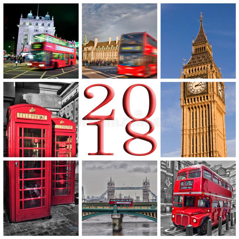 2018 London photos collage greeting card stock images