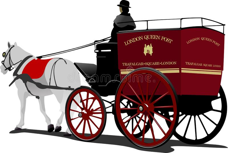 London post horse cab with driver isolated. On white vector illustration