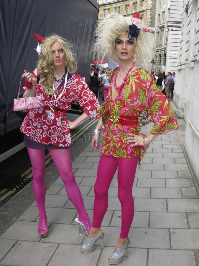 London Pride 2008. Two men dressed as women at London Pride 2008 royalty free stock photo