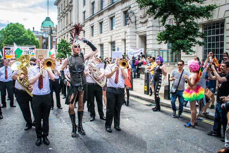 London Pride procession. People in fancy dress on the streets of London for the Pride procession royalty free stock photography