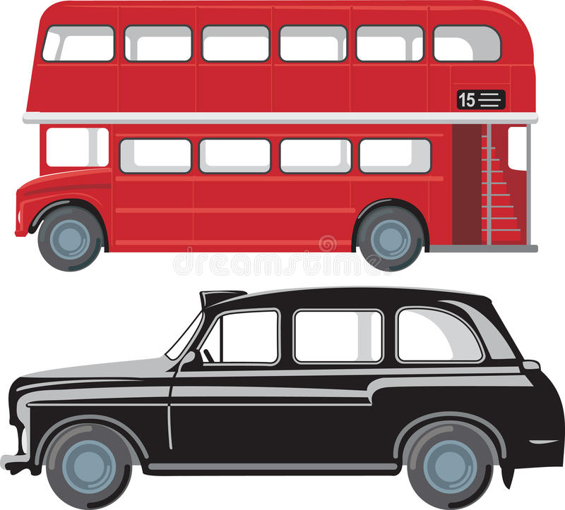 London pubic transport. London double-decker red bus and traditional taxi cab stock illustration