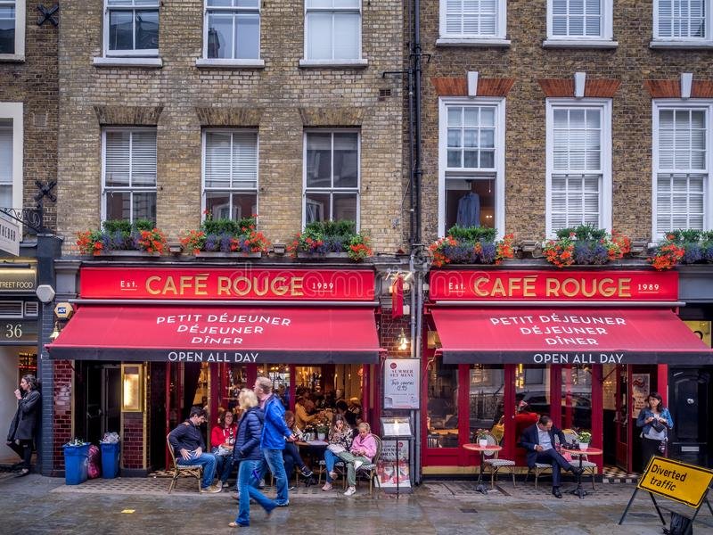 London pubs and restaurants. LONDON UK - AUG 2: London pubs and restaurants in the Covent Garden area on August 2, 2017 in London England. London has many stock photography