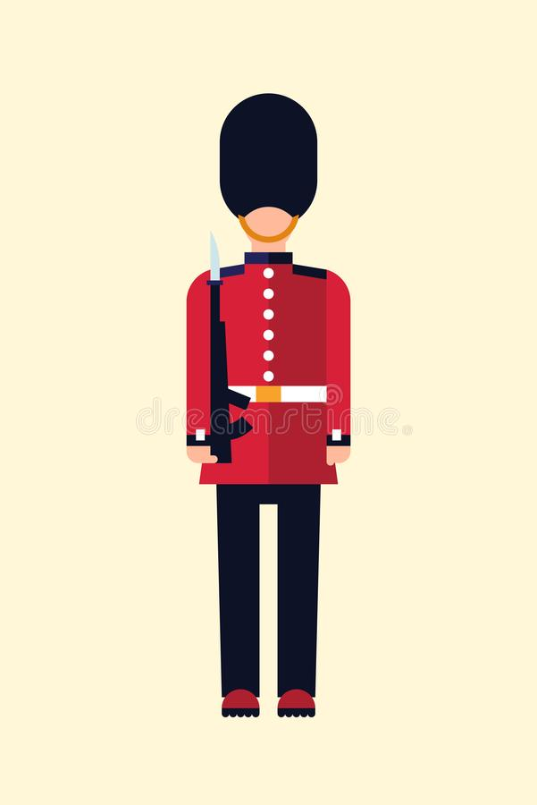 London Queens guard Vector flat illustration of a British soldier in uniform with a gun. Guid Icon isolated on light royalty free illustration