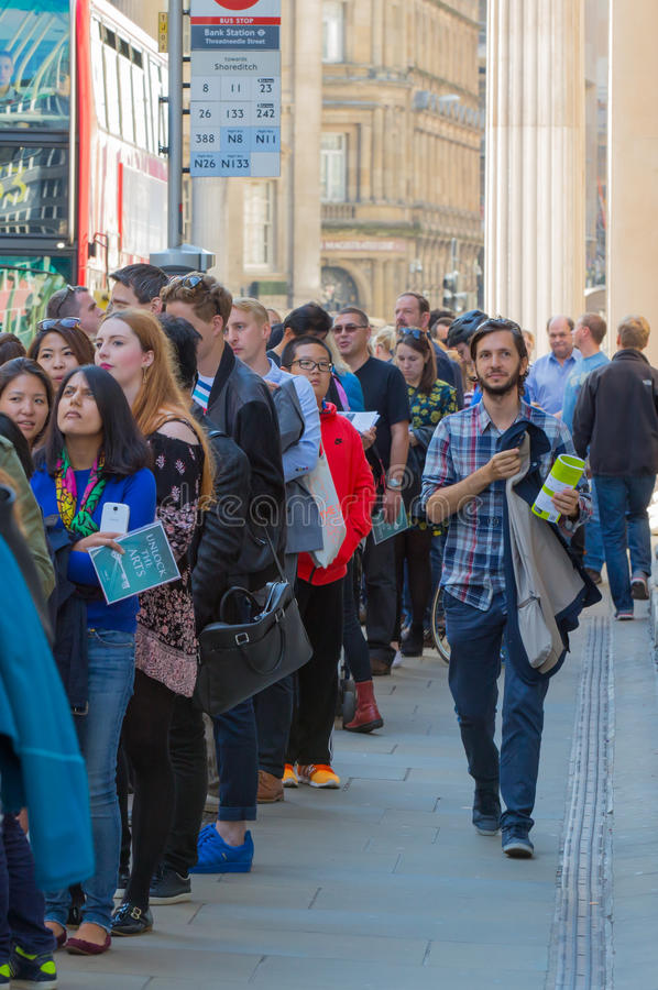 LONDON, Queue on the Bank street. People waiting to see Bank of England in open day event stock photo