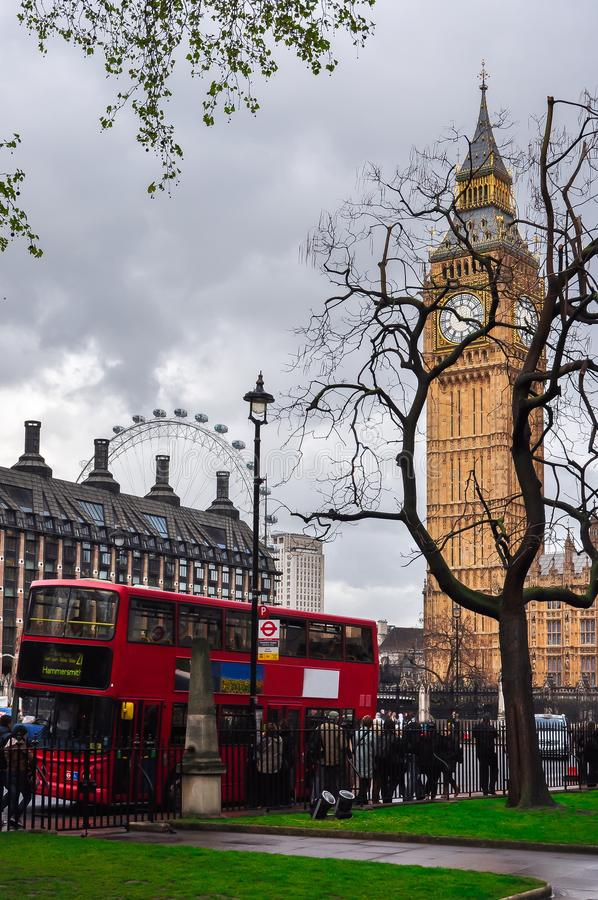 London red double-decker bus and Big Ben, UK royalty free stock image