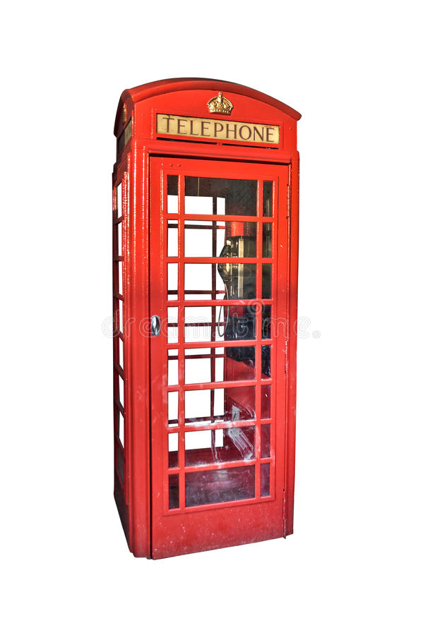 London red phone booth isolated on white stock image