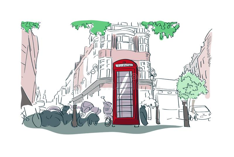 London red phone booth vector watercolor illustration street view royalty free illustration