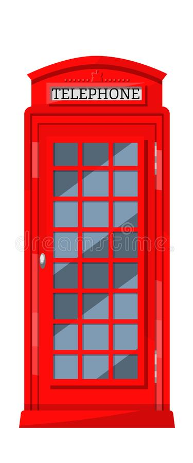 London red telephone booth with payphones. Cabin booth, communication device. vector illustration