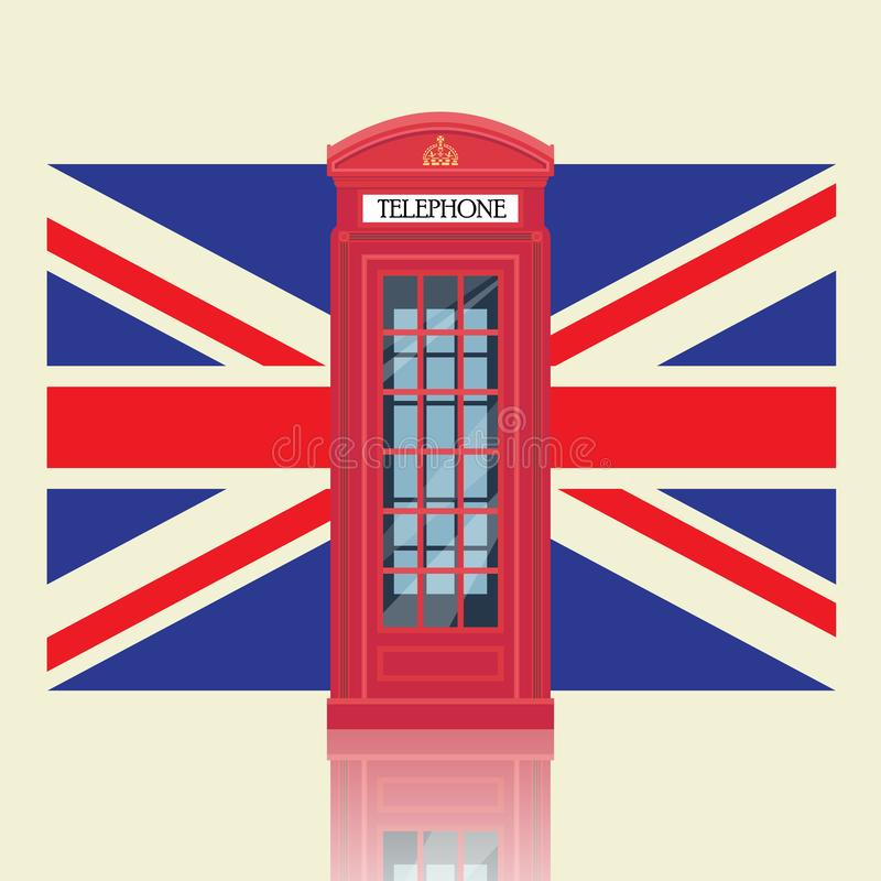 London red telephone booth with United Kingdom flag vector illustration