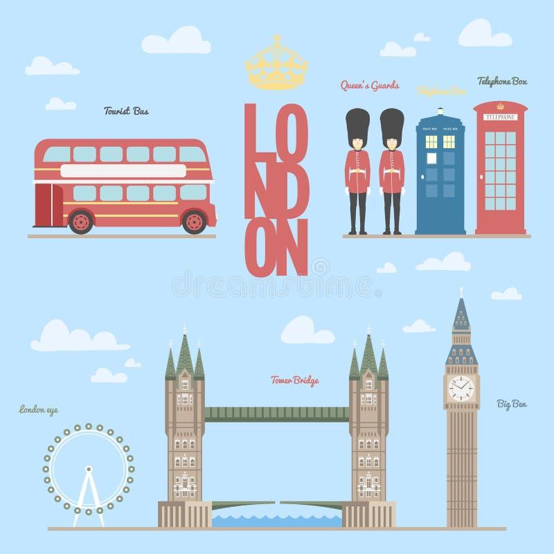London-Reiseinformationen schützt grafische Vektorillustration von und von Symbolen, briges, Großben, Telefonzellen, Bus, Königin vektor abbildung