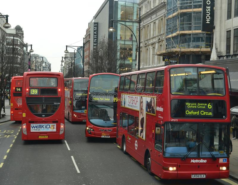 London-Rot transportiert Verkehrsstockung Oxford-Straße stockbild