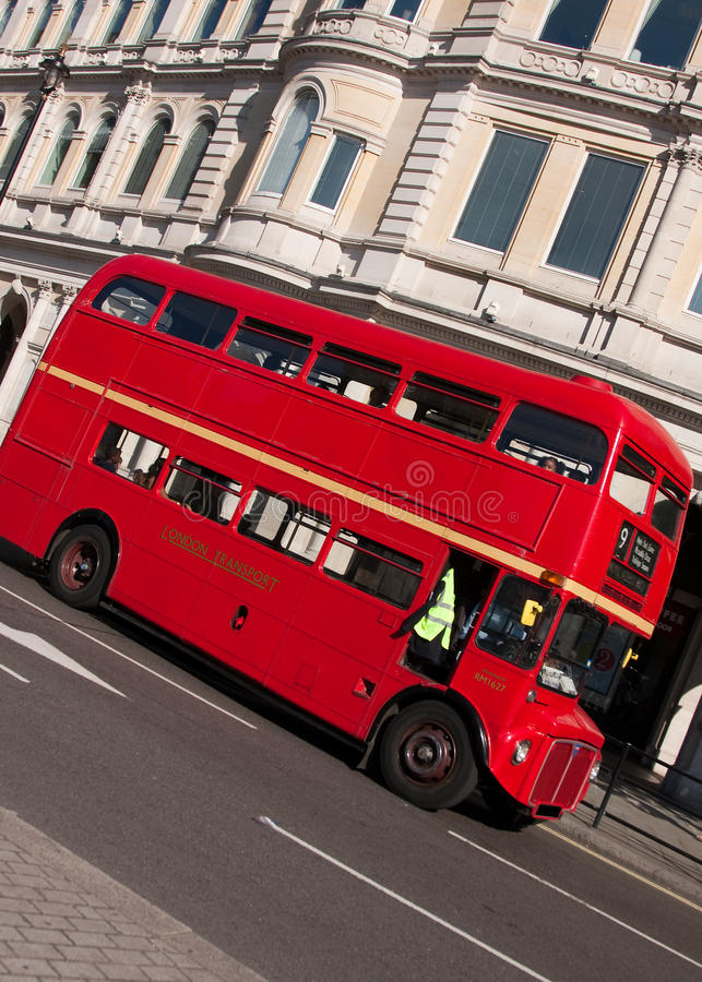 London Routemaster bus. An angled shot of the famous 'Routemaster' London doube-decker bus royalty free stock image
