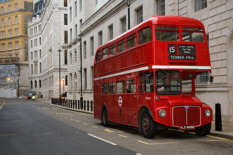 London Routemaster Bus. An old London routemaster bus parked off Whitehall, London royalty free stock images