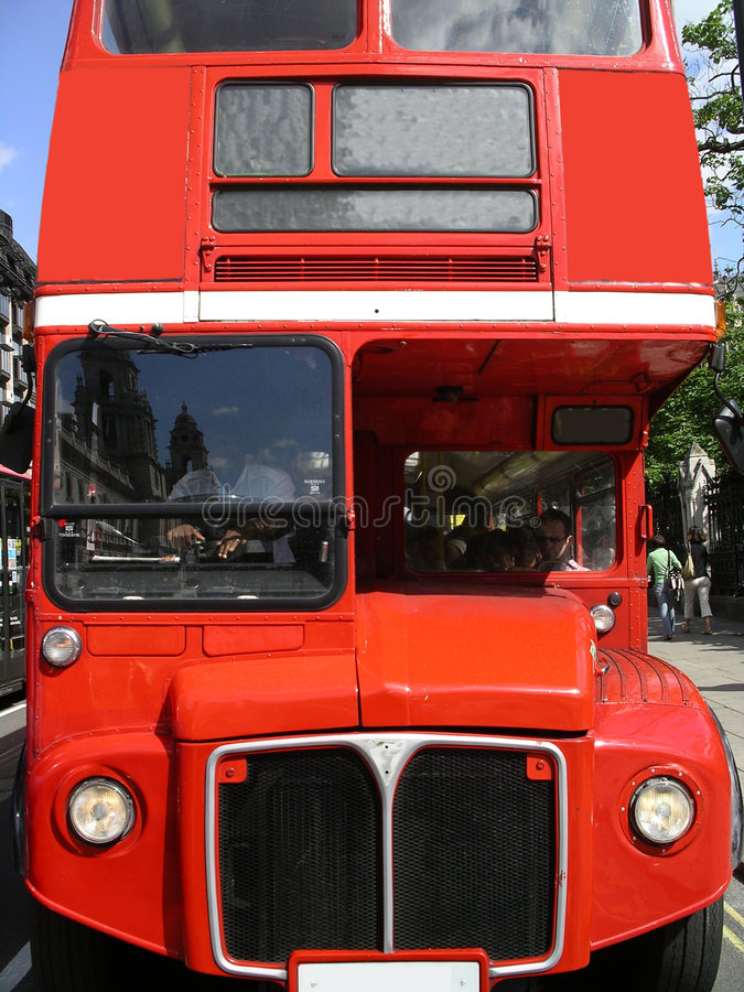 London Routemaster Bus. Full Frontal picture of an old routemaster London bus stock images