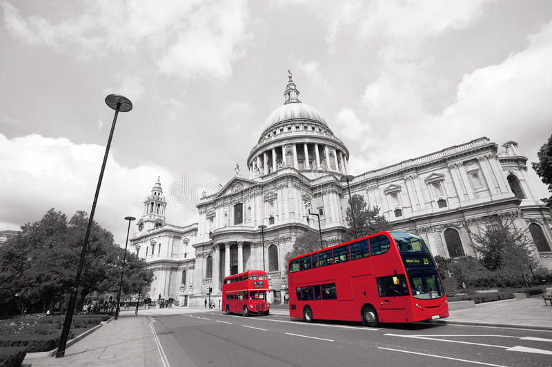 London Routemaster Bus, St Paul's Cathedral. London's iconic Routemaster Bus and St Paul's Cathedral is in the background stock photography