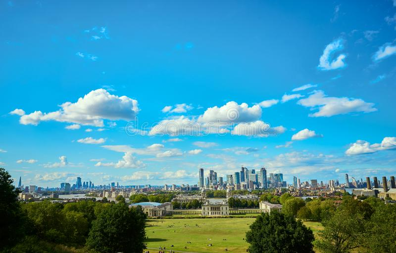 London`s skyline from Greenwich Park stock photo