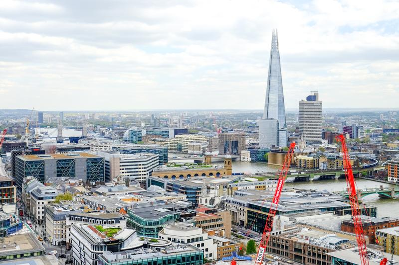 London`s skyline from the top of St Paul cathedral stock image
