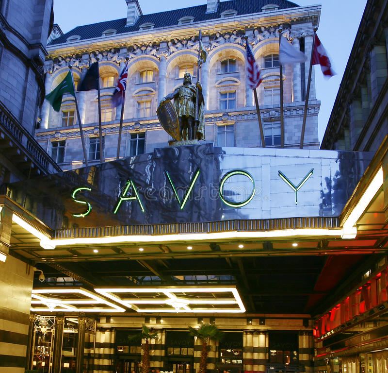 London Savoy Hotel. LONDON - MARCH 7: Outside view of Savoy hotel, Britain's first luxury hotel in central London, opened in 1889 and closed in 2007 for
