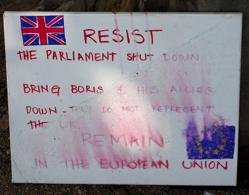 LONDON - SEP 2019: Resist Parliament shutdown anti Brexit banner. LONDON, UK - CIRCA SEPTEMBER 2019: Resist Parliament shut down, Bring Boris down banner used by stock image