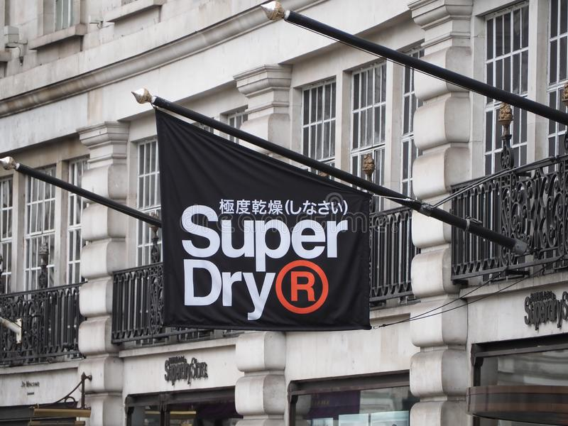 LONDON - SEP 2019: Superdry sign royalty free stock images