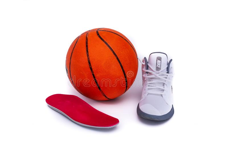 Modern Nike Mid-High Basketball Shoes stock photo