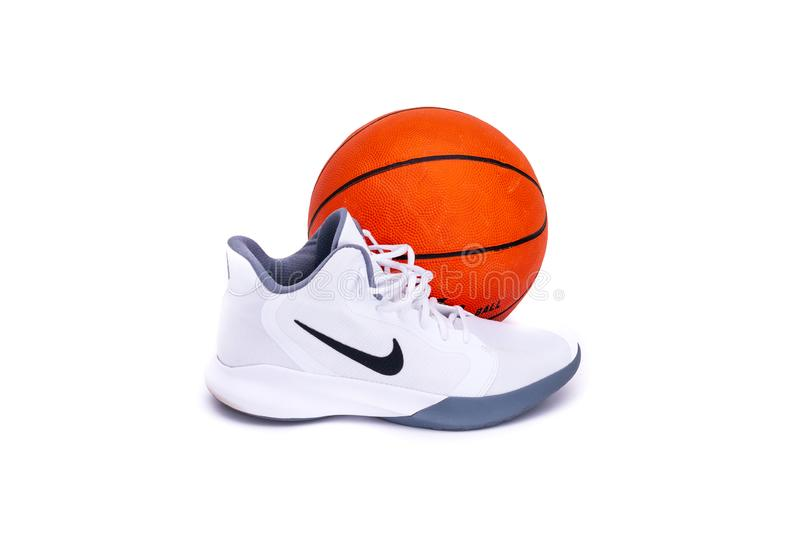 Modern Nike Mid-High Basketball Shoes royalty free stock photography