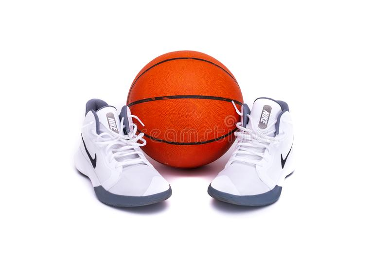 Modern Nike Mid-High Basketball Shoes royalty free stock image