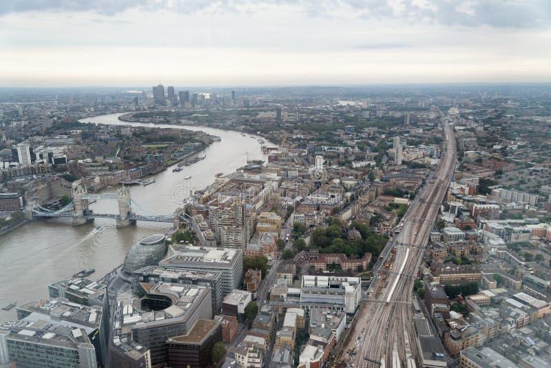 LONDON - 24. SEPTEMBER 2016: Vogelperspektive von London-Skylinen E stockbild