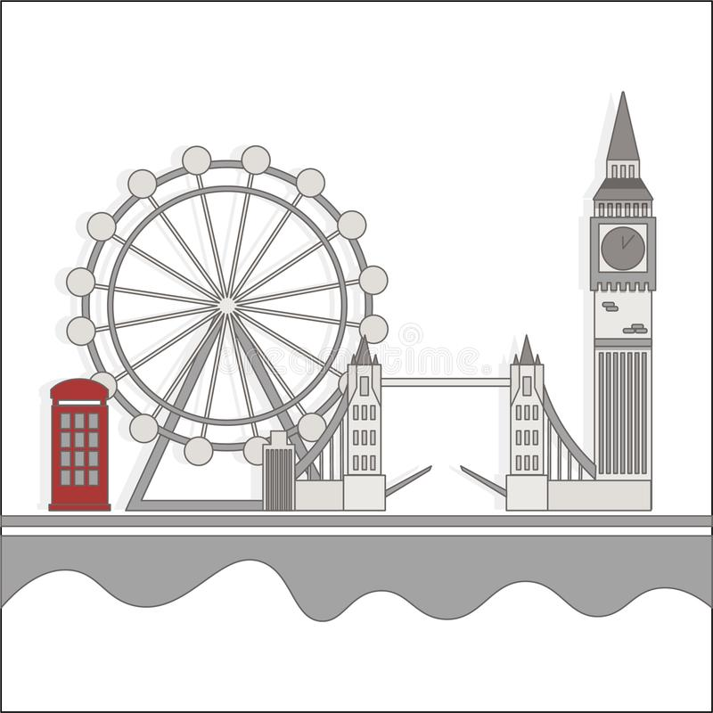 London sights with a red booth vector illustration