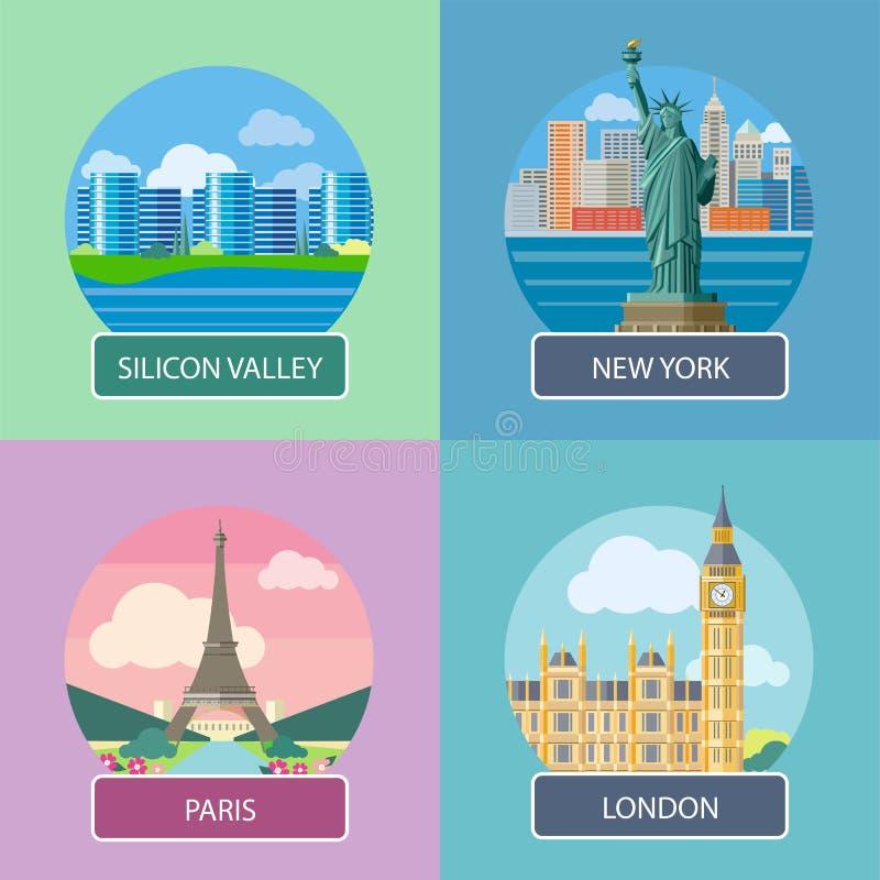 London, Silicon Valley, New York och Paris stock illustrationer