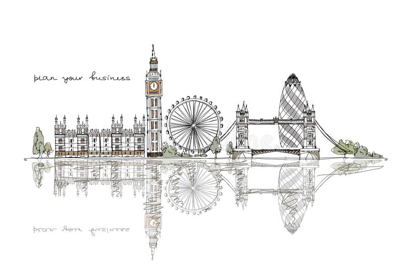 London skissar samlingen vektor illustrationer