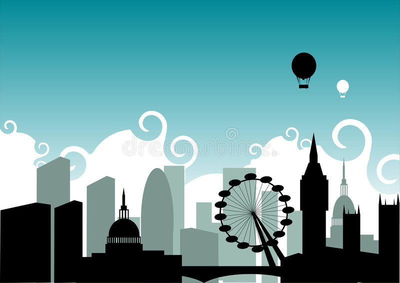 London Skyline. An illustration based on the city of London