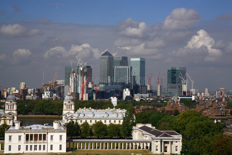 London skyline. And construction from Greenwich park royalty free stock image